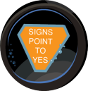 Graphic showing Magic 8 Ball prediction: Signs Point to Yes