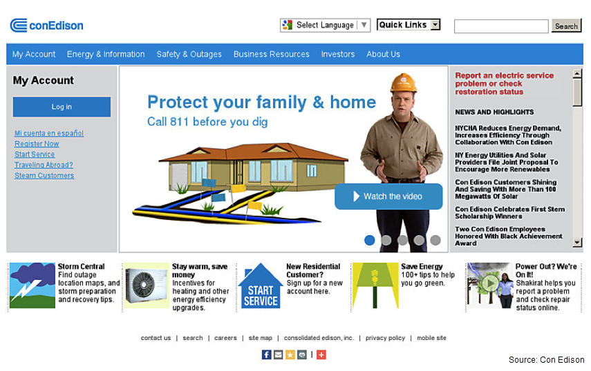 Screenshot of Con Edison's old website