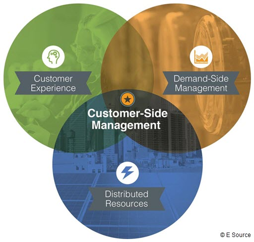 Venn diagram of Customer-Side Management, including customer experience, distributed resources, and demand-side managment