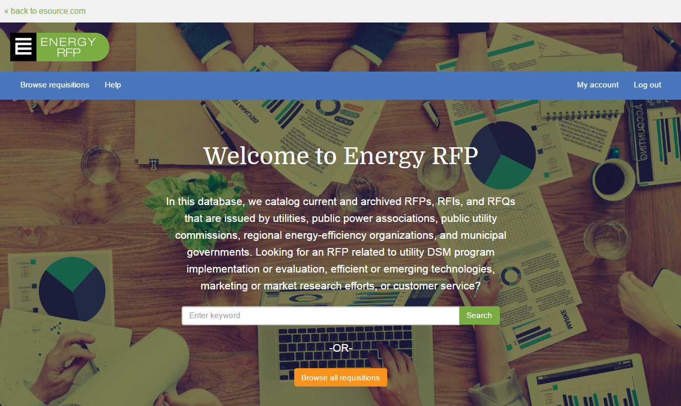 Screenshot of Energy RFP tool