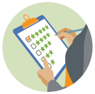 Graphic of a woman with a clipboard checking 5 on a scale of 1 to 5 stars