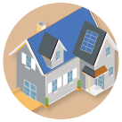 House with solar panels graphic