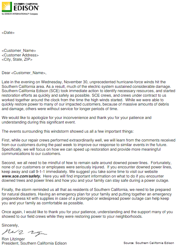 Screen capture of Southern California Edison's apology letter