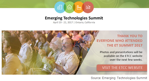 Screen capture of Emerging Technologies Summit web page