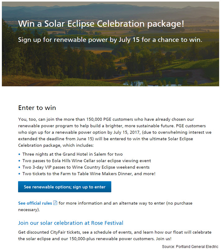 Image of PGE's Win a Solar Eclipse Celebration package sweepstakes web page