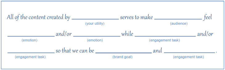 Image of a fill-in-the-blank content strategy statement. The text says: All of the content created by (your utility) serves to make (audience) feel (emotion) and/or (emotion) while (engagement task) and/or (engagement task) so that we can be (brand goal) and (engagement task).