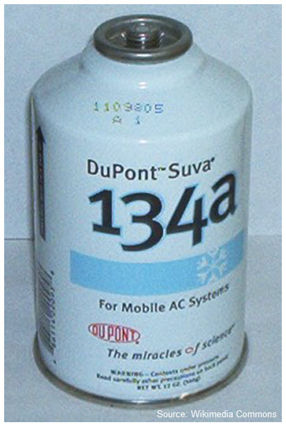 Photo of a can of DuPont Suva refrigerant containing HFC-134a