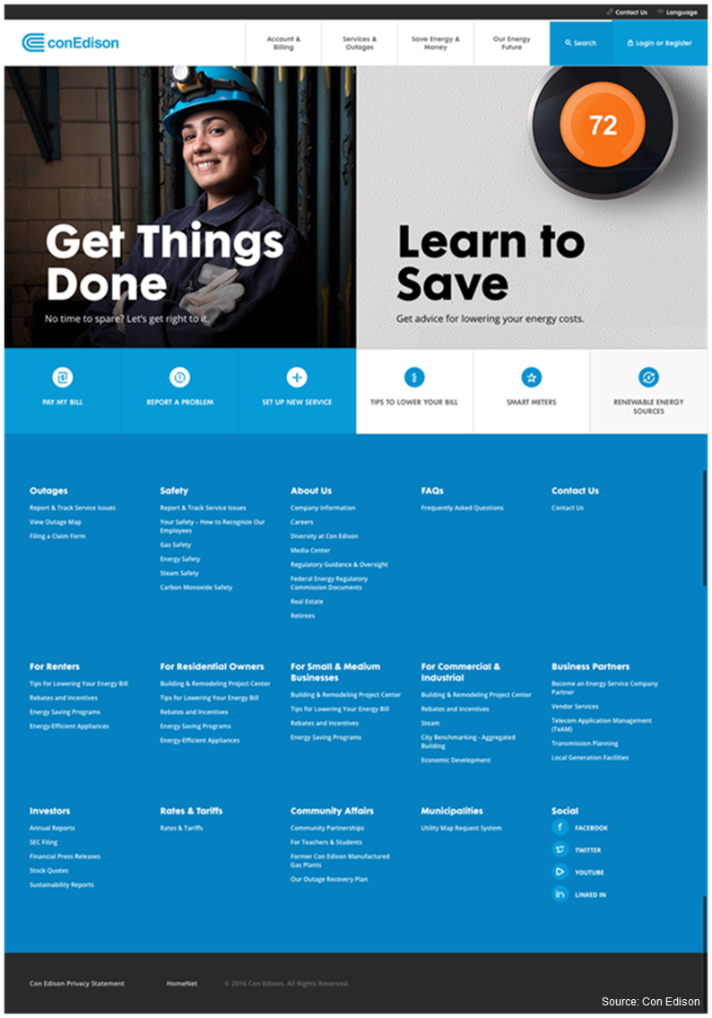 Screenshot of Con Edison's revamped website