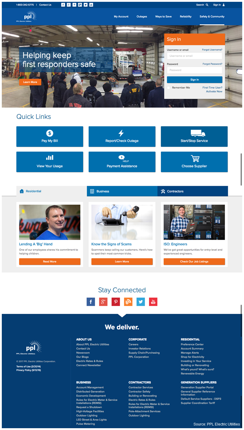 Screenshot of PPL Electric Utilities' revamped website