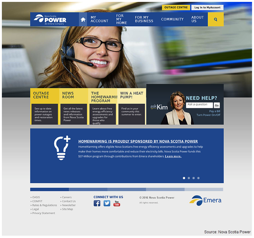 Screenshot of Nova Scotia Power's old website