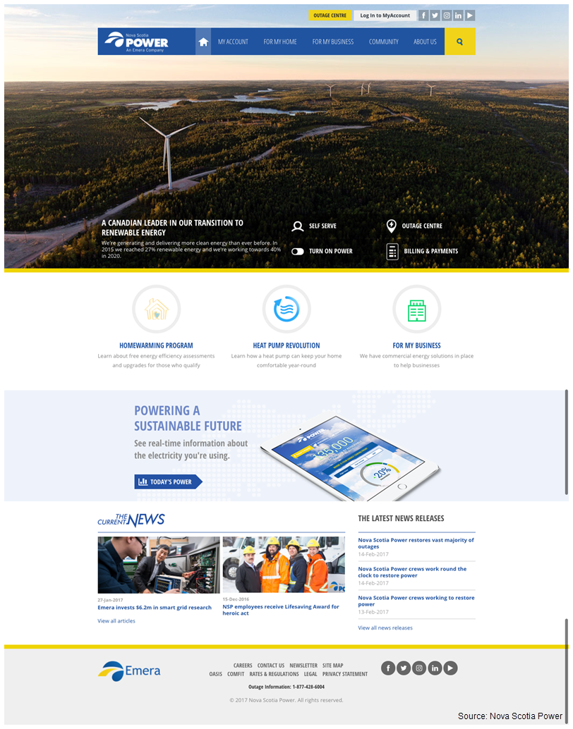 Screenshot of Nova Scotia Power's revamped website