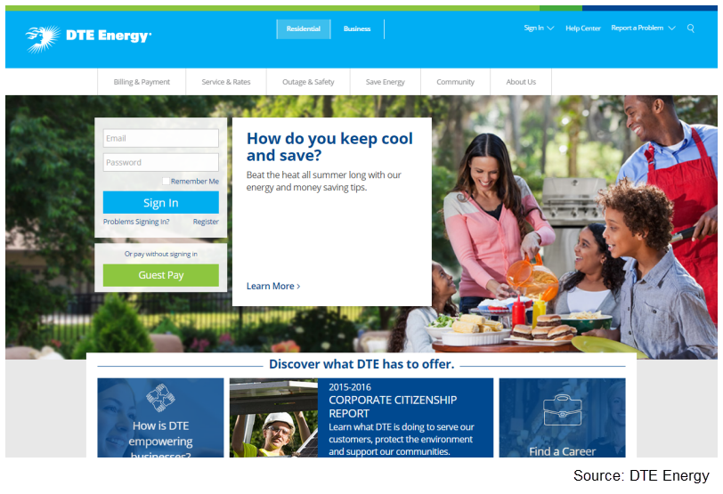 DTE Energy Summer Cooling home page promotion