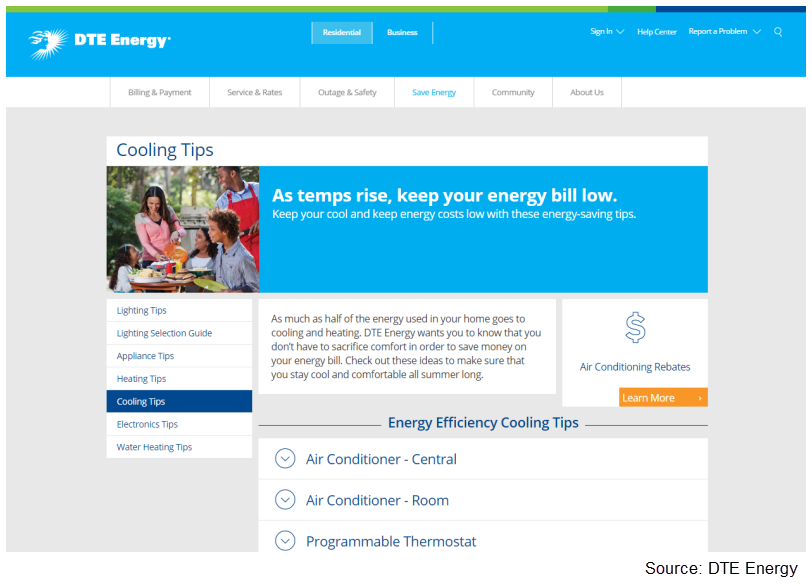 DTE Energy Summer Cooling Tips web page