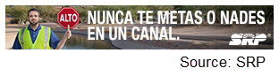SRP water safety banner ad (Spanish)