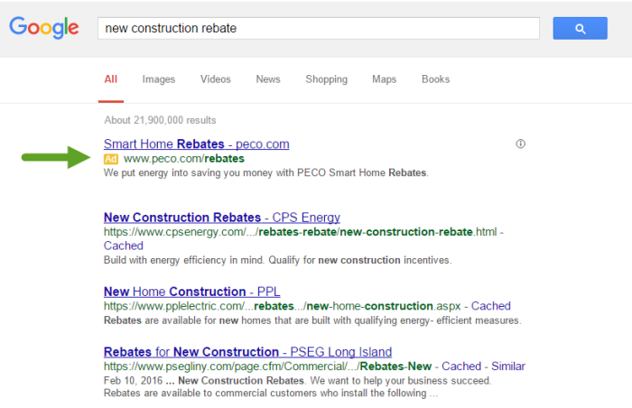 Screenshot of PECO's AdWords campaign
