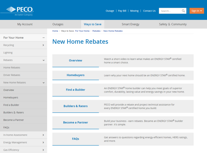 Screenshot of PECO's New Home Rebates page