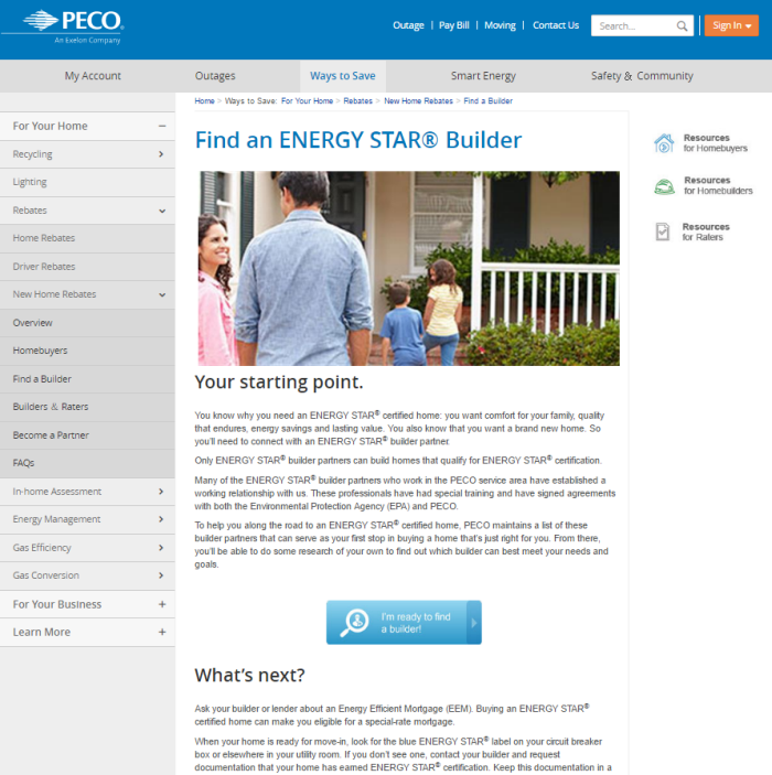 Screenshot of PECO's Find an Energy Start Builder page