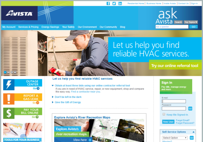 Screenshot of Avista Utilities' website home page carousel promotion