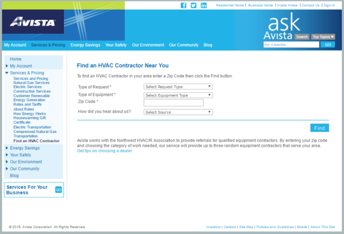Screenshot of Avista Utilities' Find a Contractor web page