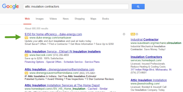 Screenshot of Duke Energy's AdWords campaign