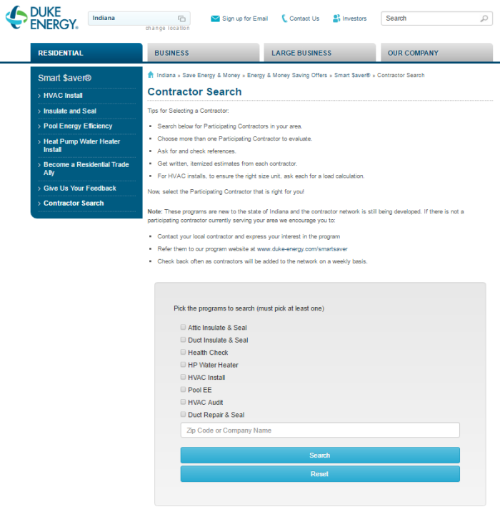 Screenshot of Duke Energy's contractor search tool