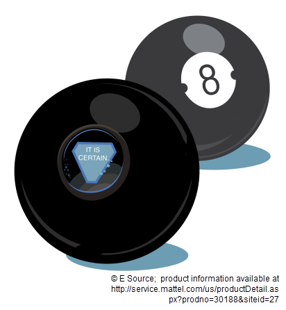 Graphic showing Magic 8 Ball prediction: