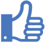 Blue thumbs-up icon