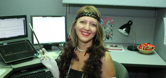 Rachel representing the Roaring '20s at Halloween