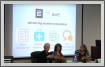 This image shows a panel of women business leaders at an AWE event