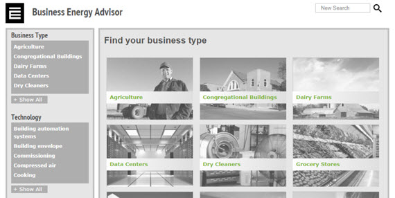 Image of the E Source Business Energy Advisor home page.