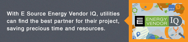 E News banner: With E Source Energy Vendor IQ, utilities can find the best partner for their project, saving precious time and resources.