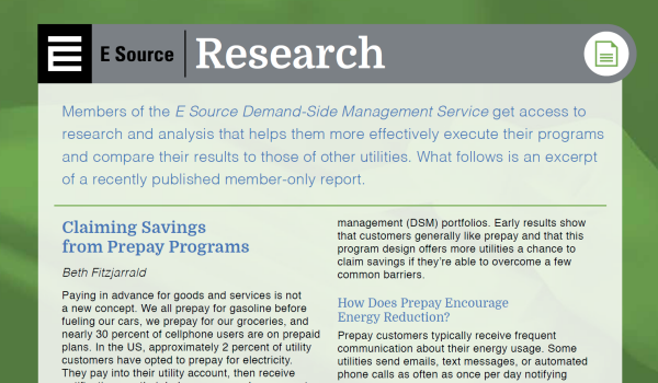 This is a thumbnail of a sample DSM Research Brief on prepay programs