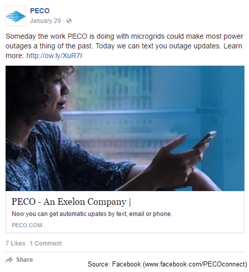 Screen capture of a PECO Facebook post about outages