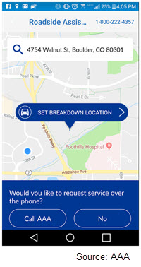 Screenshot of the AAA app with a button reading 'Set breakdown location' and an option reading 'Would you like to request service over the phone?'