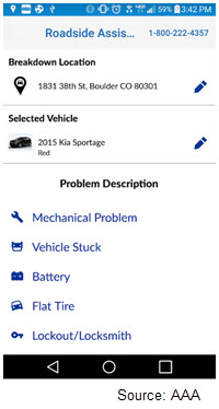 Screenshot of AAA's Roadside Assistance app where customers choose from a list of possible problems