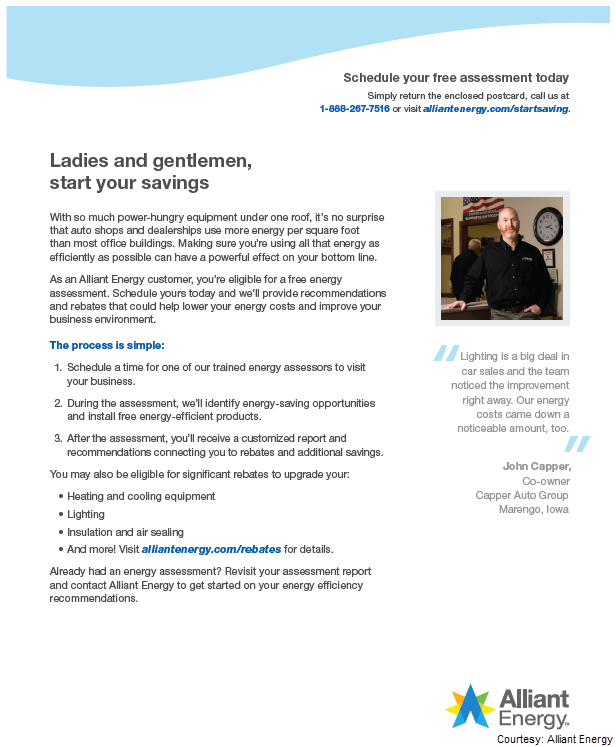 Screenshot of a direct mail letter that Alliant Energy used to target small and midsize business customers. The letter includes a customer testimonal and steps for how to sign up for a free energy assessment