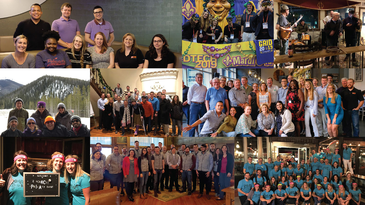 A collage of images of E Source employees, both formal and candid, from all of the company's divisions across the US and Canada.
