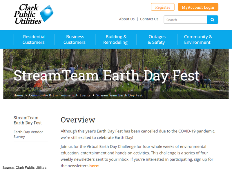 Although this year's Earth Day Fest has been cancelled due to the COVID-19 pandemic, we're still excited to celebrate Earth Day! Join us for the Virtual Earth Day Challenge for four whole weeks of environmental education, entertainment and hands-on activities. This challenge is a series of four weekly newsletters sent to your inbox. If you're interested in participating, sign up for the newsletters here:Although this year's Earth Day Fest has been cancelled due to the COVID-19 pandemic, we're still excited to celebrate Earth Day! Join us for the Virtual Earth Day Challenge for four whole weeks of environmental education, entertainment and hands-on activities. This challenge is a series of four weekly newsletters sent to your inbox. If you're interested in participating, sign up for the newsletters here