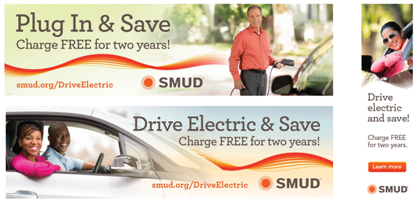Images from SMUD's Drive Electric campaign promoting free charging