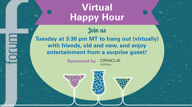 Promo image for the happy hour on October 6 at 3:30 pm mountain time, sponsored by Oracle Utiltiies