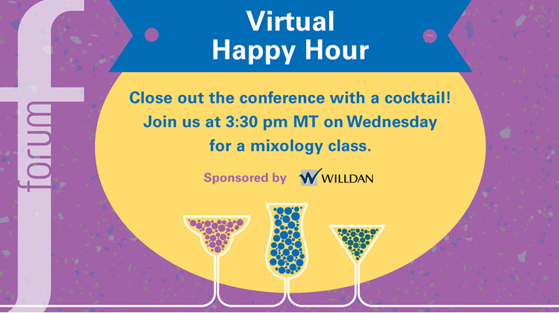 Promo image for the happy hour on October 7 at 3:30 p.m. mountain time with a mixology class, sponsored by Willdan