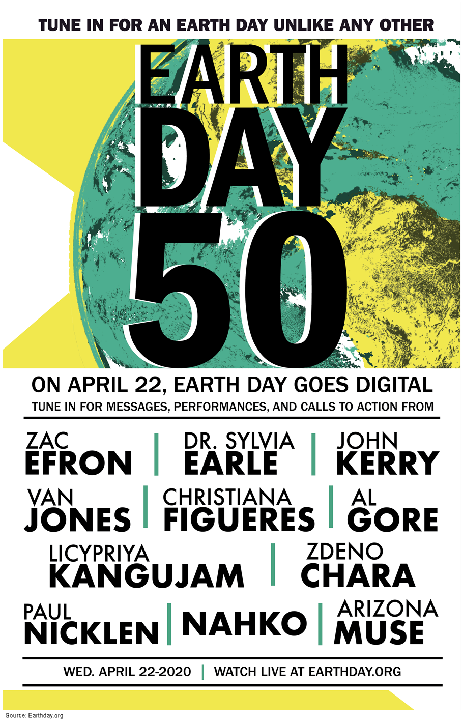 Poster for the Earth Day 50 global digital event