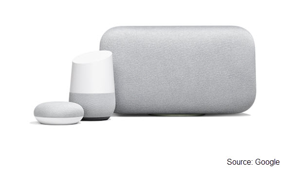 Photo of Google Home Mini, Google Home, and Google Home Max smart speakers