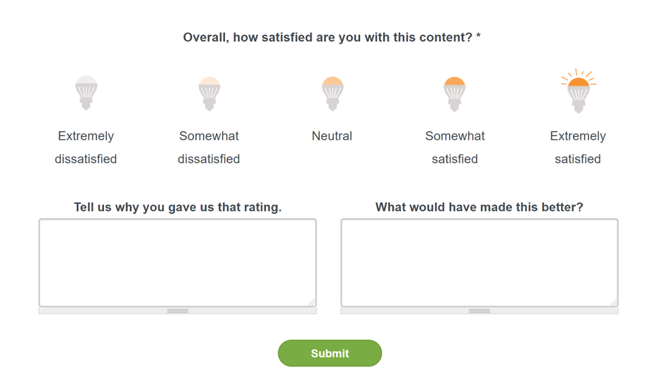 Example image of the new member feedback survey at the end of E Source reports and event recordings.
