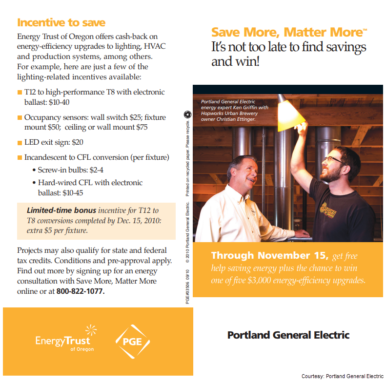 Page 1 of Portland General Electric's direct mail letter (cobranded with Energy Trust of Oregon) from its Save More, Matter More campaign. On this page it offers incentives to save and calls out the deadline for a limited-time bonus