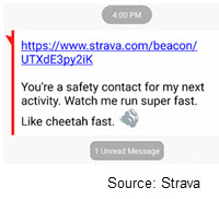 Screenshot of Strava app showing a link and reading 'You're a safety contact for my next activity. Watch me run super fast. Like cheetah fast.'