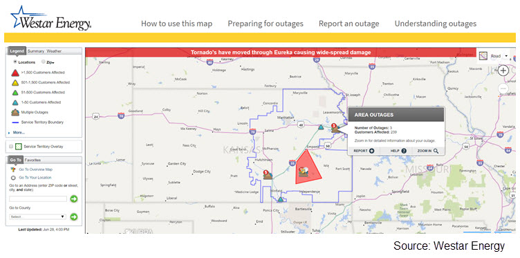 Screenshot of a map in Westar Energy's territory, with a label pointing to a location that reads 'Area Outages'